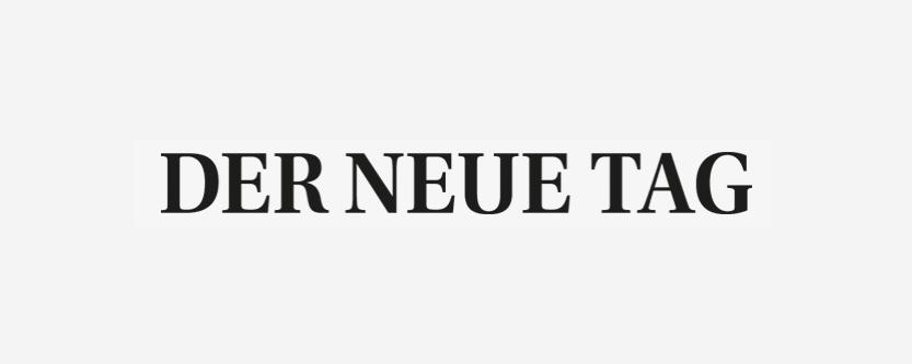 """Schwarzes Logo der Tageszeitung """"Der neue Tag"""" von Oberpfalz Medien."""