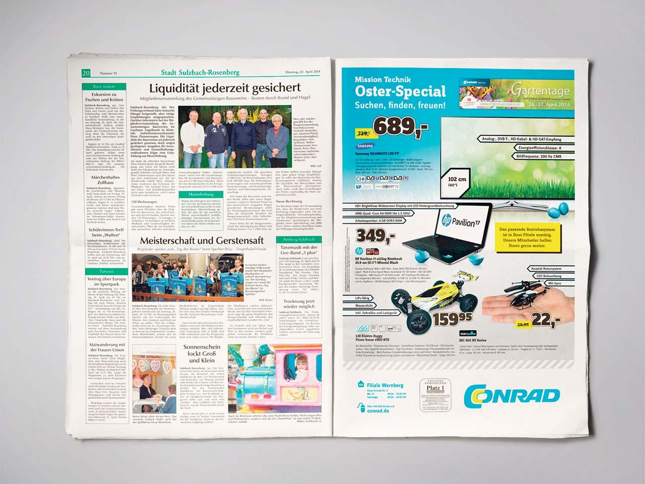 Ansicht einer Zeitung aus dem Druck von Oberpfalz Medien mit Anzeige im Berliner Format.