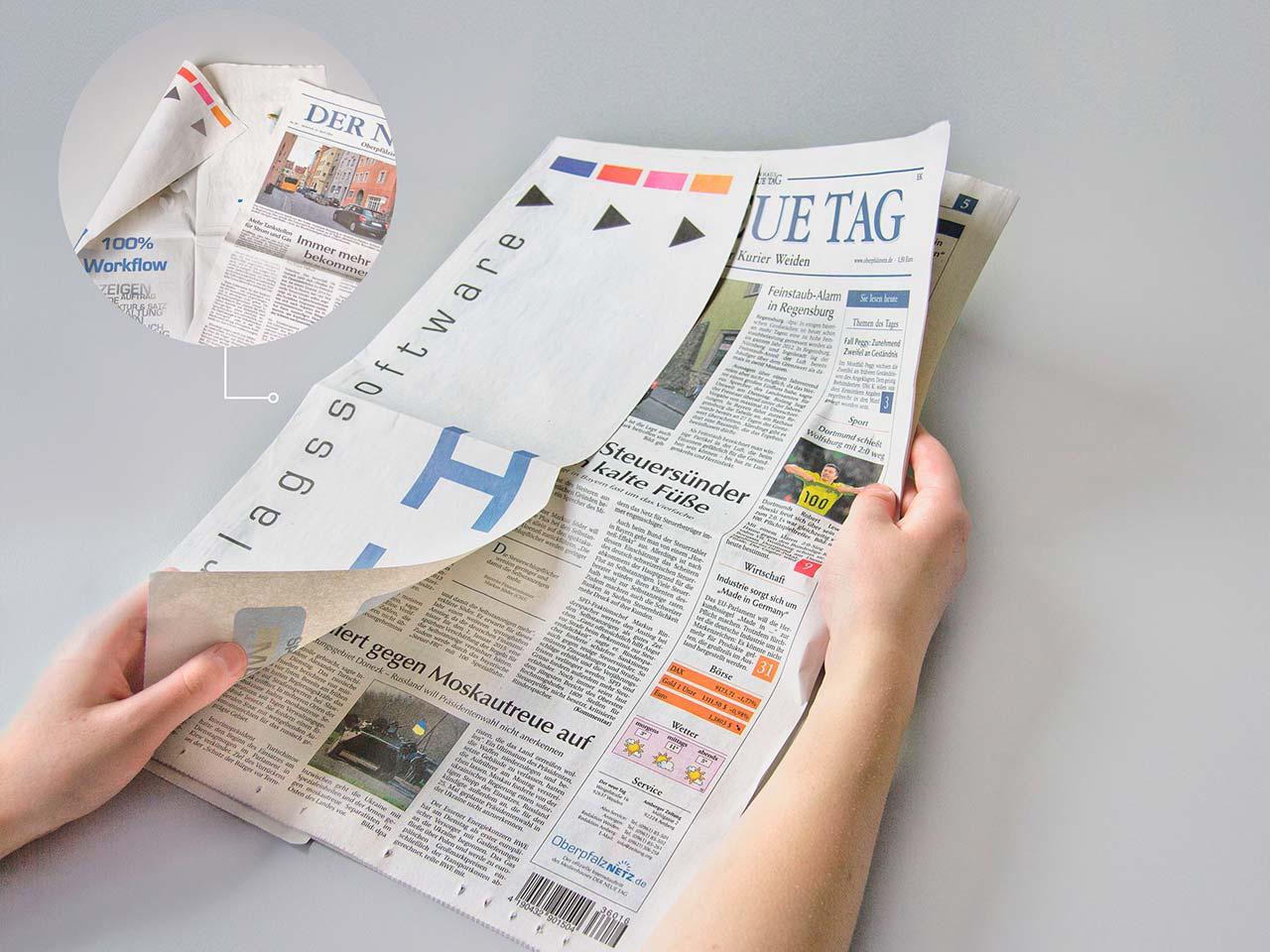 Ansicht einer Zeitung mit Flying-Page aus dem Druck von Oberpfalz Medien.