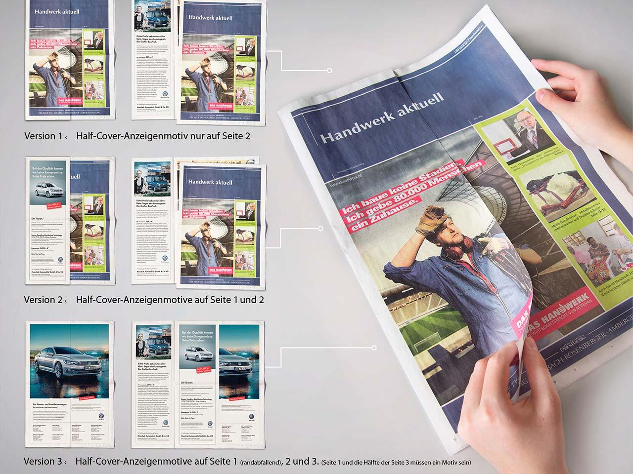 Verschiedene Ansichten von Zeitungen mit Half-Cover-Anzeigenmotiven aus dem Druck von Oberpfalz Medien.