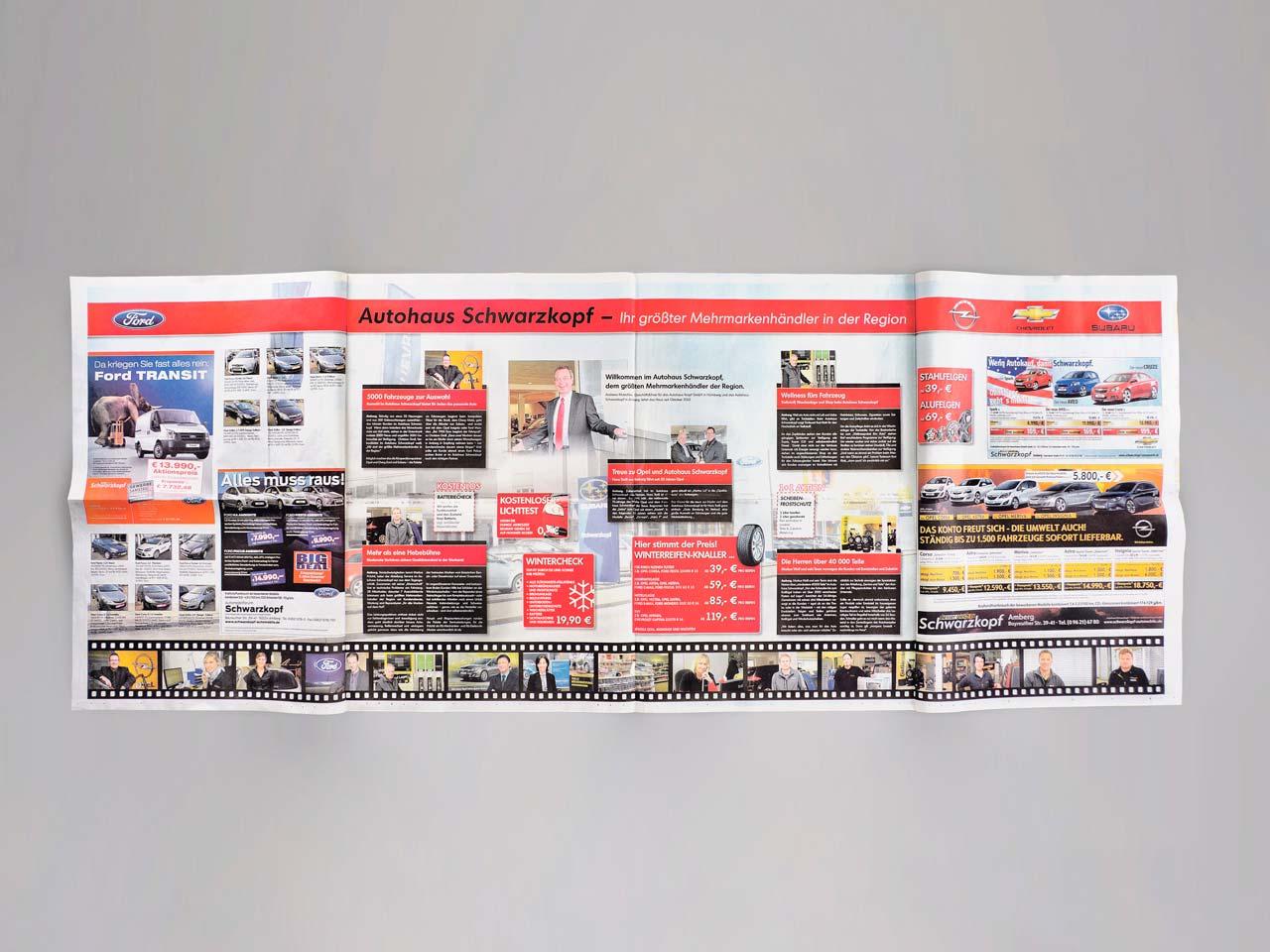 Aufgeklappte Zeitung im Superpanoramaformat aus dem Druck von Oberpfalz Medien.