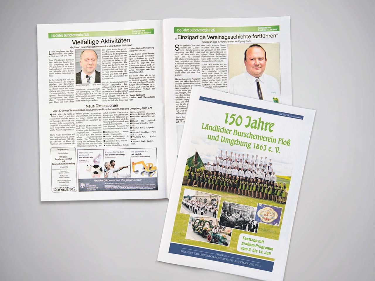 Ansicht einer Verlagsbeilage aus dem Druck von Oberpfalz Medien im Tabloid-Format.