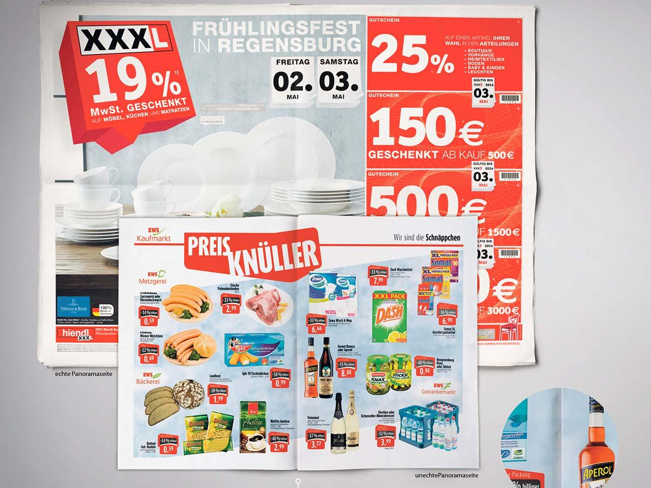 Ansicht einer aufgeklappten Zeitung und einer aufgeklappten Beilage aus dem Druck von Oberpfalz Medien zur Veranschaulichung des Panoramaformats.
