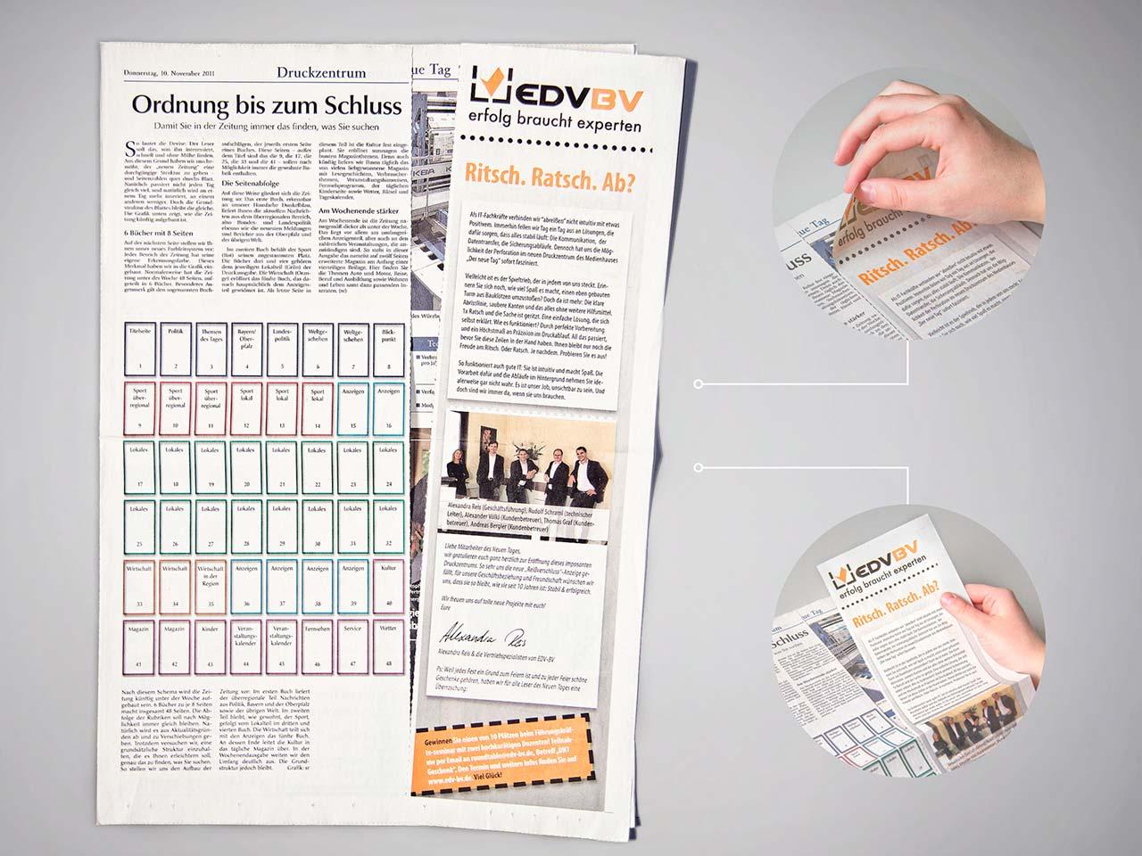 Ansicht einer Zeitung mit Zip'n'buy-Anzeige aus dem Druck von Oberpfalz Medien.