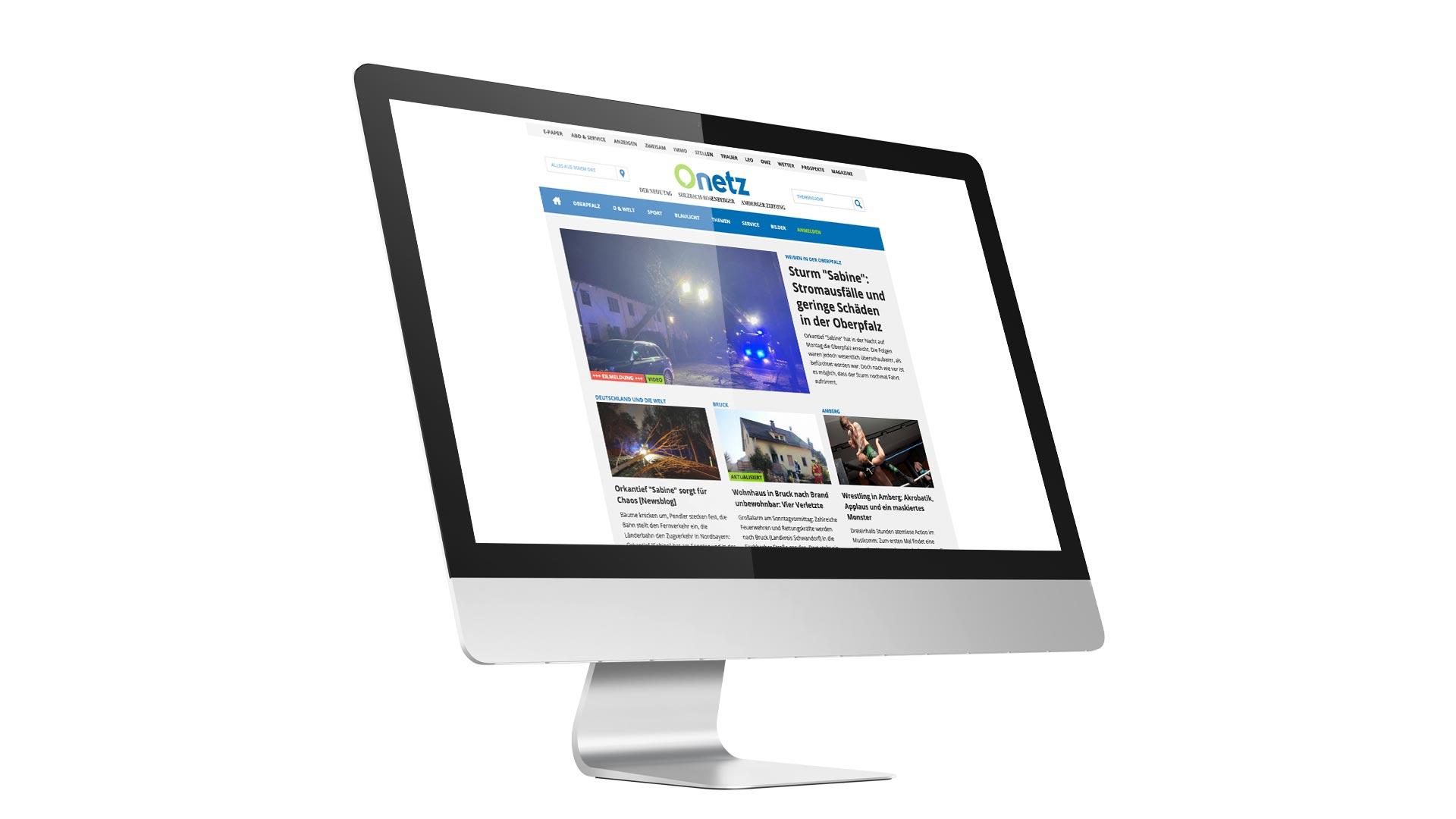 Ansicht eines Monitors, auf dem das Onlineportal Onetz von Oberpfalz Medien zu sehen ist.