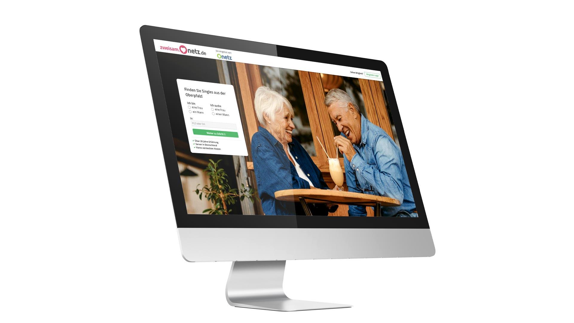 """Ansicht eines Monitors, auf dem das Onlineportal """"zweisam.onetz.de"""" zu sehen ist."""