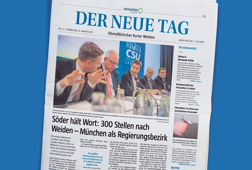"""Titelseite einer Ausgabe der Zeitung """"Der neue Tag"""" von Oberpfalz Medien auf blauem Hintergrund."""