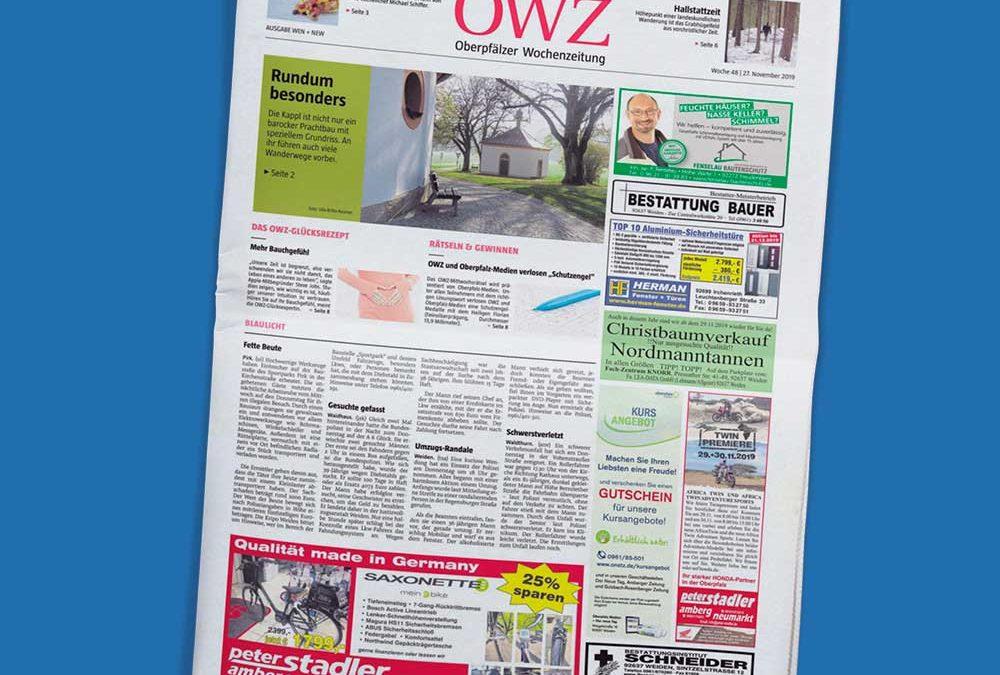 Titelseite einer Ausgabe der Oberpfälzer Wochenzeitung von Oberpfalz Medien auf blauem Hintergrund.