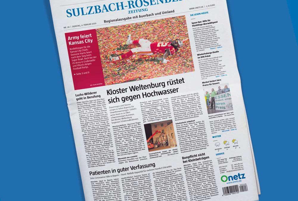 Titelseite der Sulzbach-Rosenberger Zeitung von Oberpfalz Medien auf blauem Hintergrund.