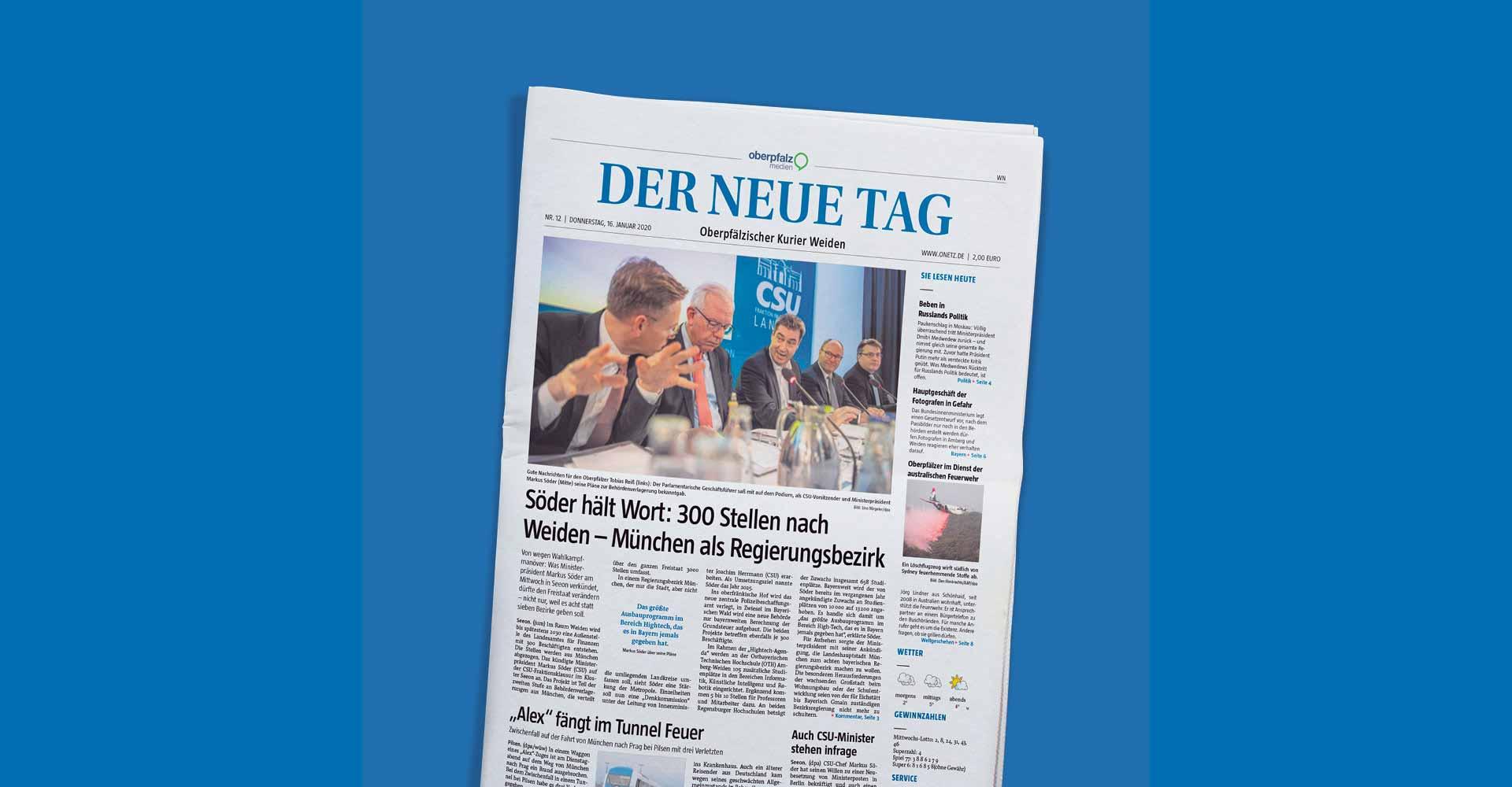 """Ansicht des Titelblatts einer Ausgabe der Tageszeitung """"Der neue Tag""""."""