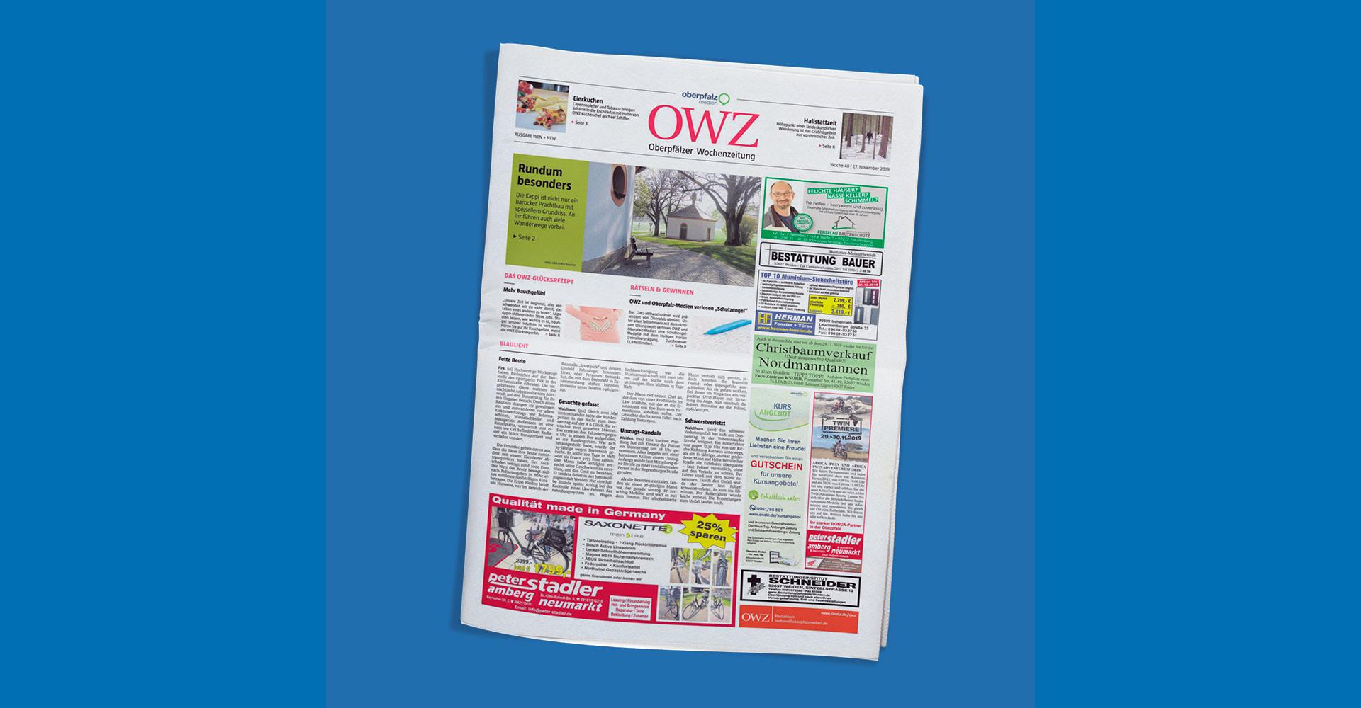 Ansicht des Titelblatts einer Ausgabe der OWZ – Oberpfälzer Wochenzeitung.