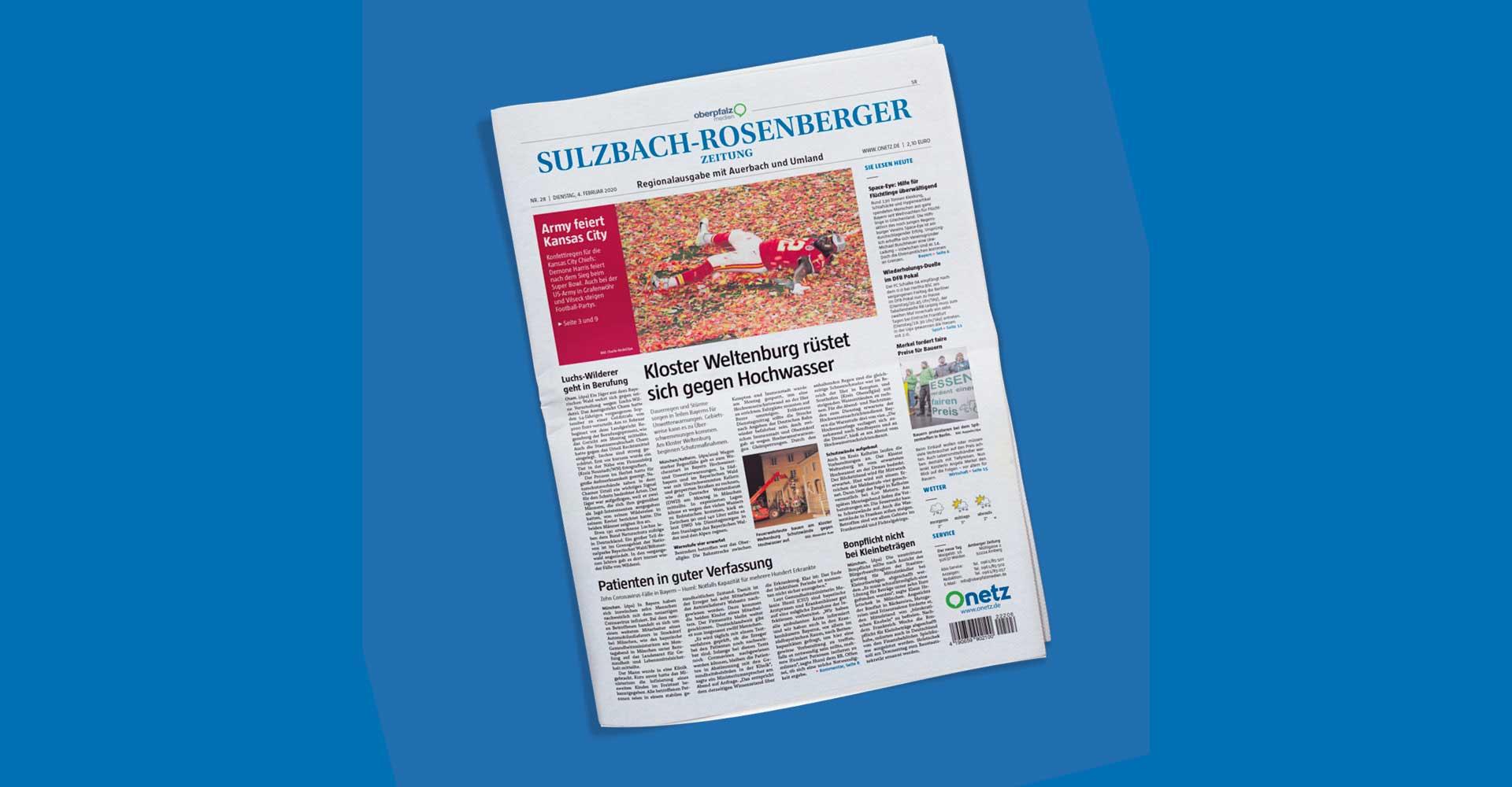"""Ansicht des Titelblatts einer Ausgabe der Tageszeitung """"Sulzbach-Rosenberger Zeitung""""."""