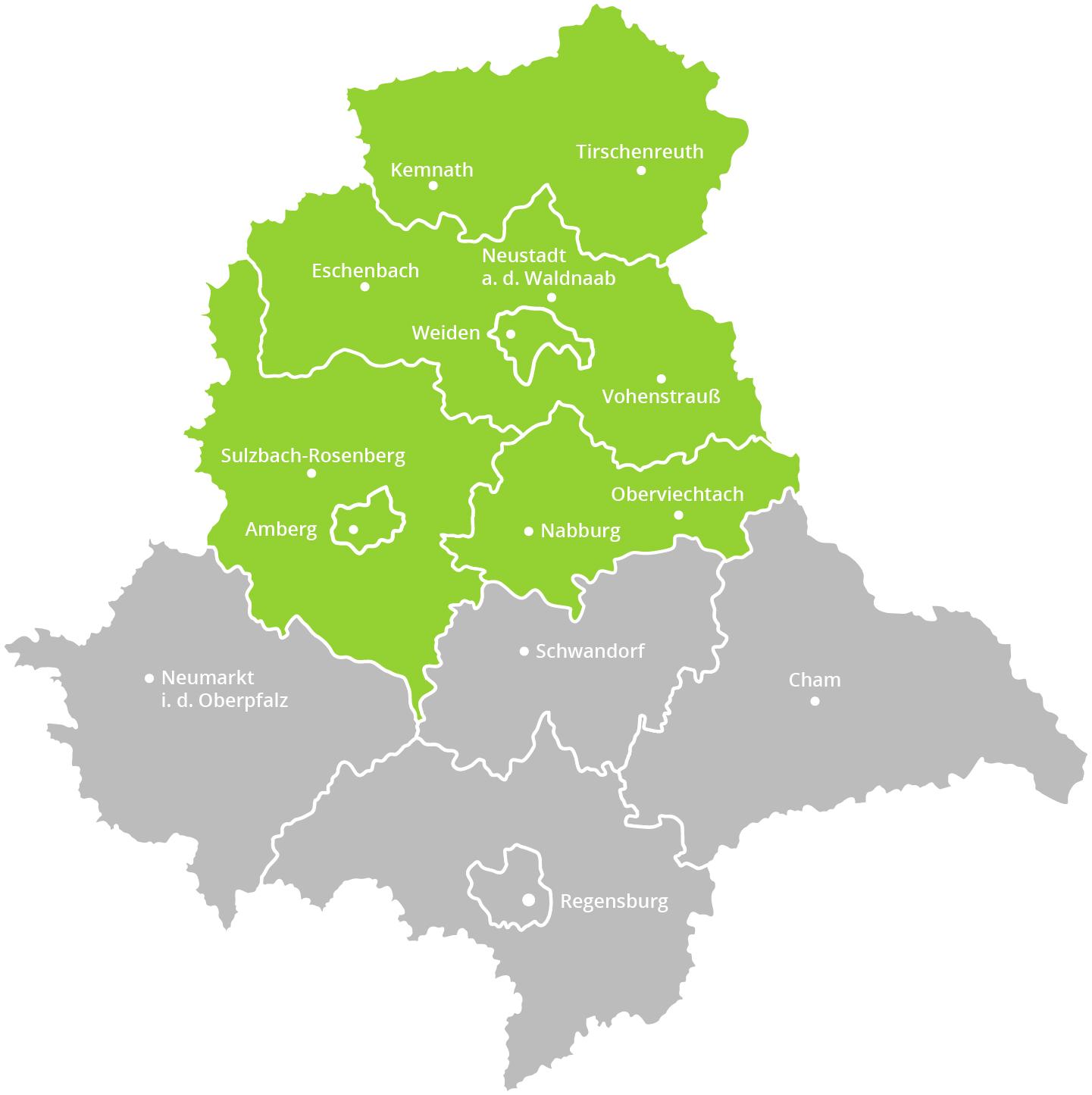 Karte der Oberpfalz mit grün markiertem Gebiet, wo die Verteilung der Oberpfälzer Wochenzeitung von Oberpfalz Medien erfolgt.