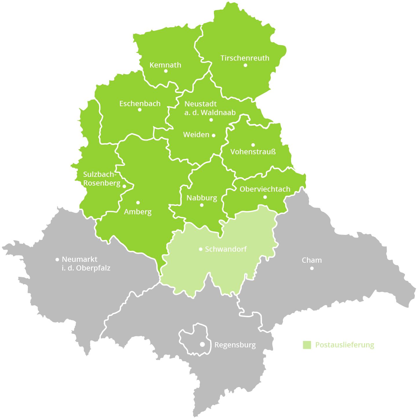 Karte der Oberpfalz mit grün markiertem Gebiet, wo die Verteilung der Zeitungen von Oberpfalz Medien erfolgt.