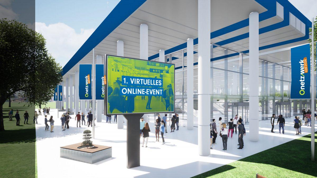 Eingang virtuelle Messehalle