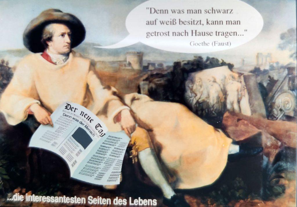 Goethe mit Tageszeitung in der Hand
