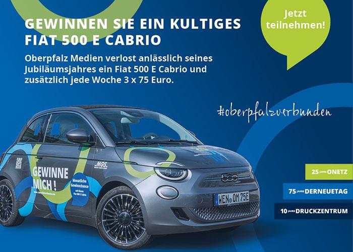 Gewinnspielanzeige für Auto Fiat 500 E zum Jubiläum gewinnen