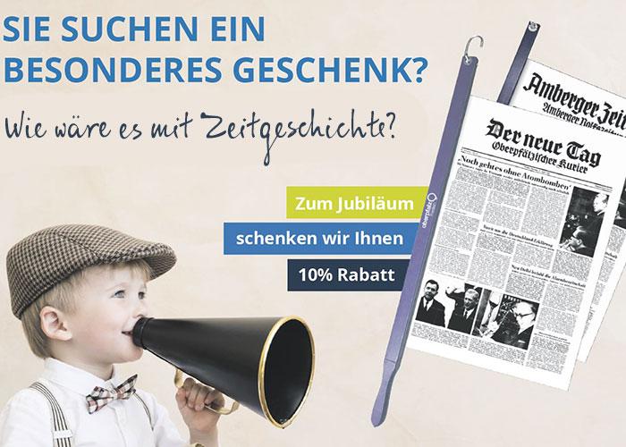 Kind bewirbt die historischen Zeitungen ausgedruckt als Jubiläums-Angebot
