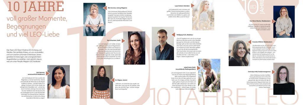 Mitarbeiterinnen und Mitarbeiter gratulieren dem People-Magazin LEO zum zehnten Geburtstag