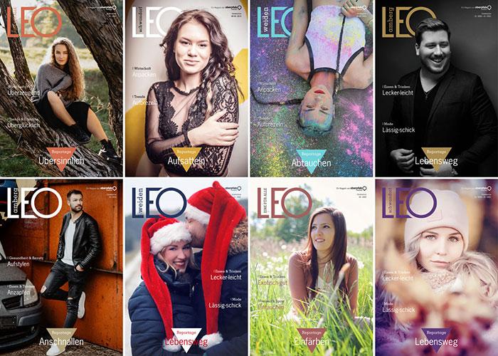 Titelseiten des People-Magazin LEO in einer Collage