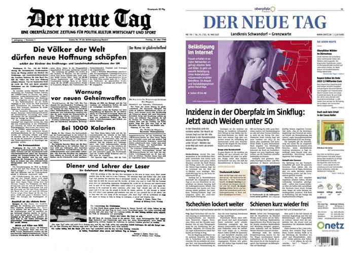 Titelseite der Zeitung DER NEUE TAG aus dem Jahr 1945 versus Mai 2021